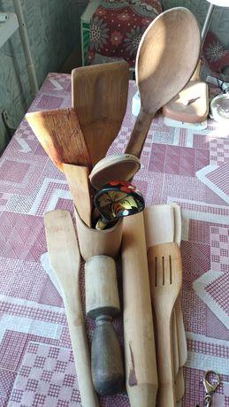 Ложка деревянная расписная, деревянные скалка, ложки, пест