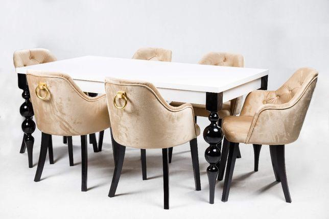 Stół Gordon 200/300x100cm + 12 krzeseł Kubełek Chesterfield z kołatką