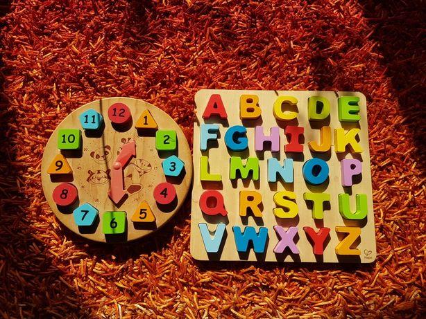 Układanka literki klocki drewniane zegar