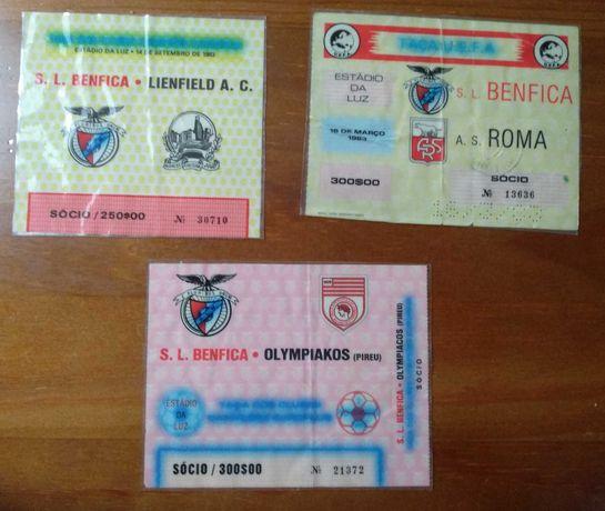 Bilhetes de futebol do Benfica das competições europeias anos 80