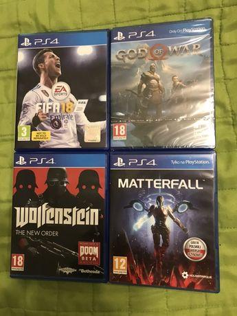 Gry PS4 - Wolfenstein, Fifa 18, God of War (folia), Matterfall