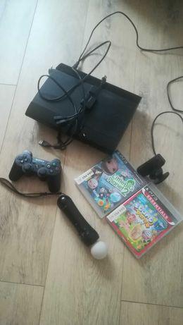 Playstation 3 slim z move i kamerą + 2 gry
