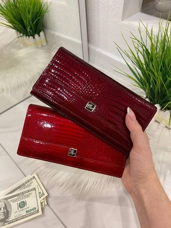 Натуральна шкіра! Жіночий гаманець на магнітах. Женский кошелек