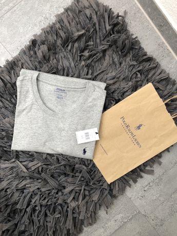 szara bluzka Polo Ralph Lauren t-shirt long sleeve basic rozmair M