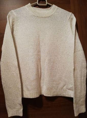 Sweter kremowy błyszczący cekiny SinSay Mohito Reserved H&M oversize