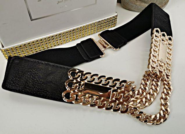 Czarny pas na gumie złota blaszka łańcuch