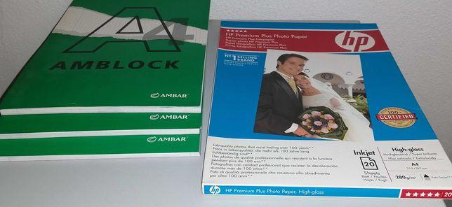 Papel fotográfico HP 280gr + 3 blocos A4 quadriculados, tudo por 5€