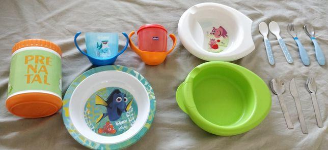 Pratos, talheres, copo evolutivo e termo refeição para bebé da Chicco