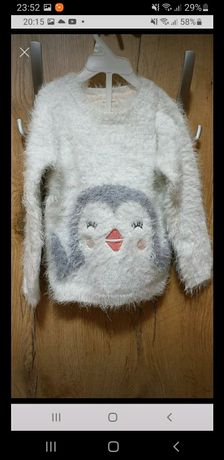 Mięciutki sweterek z pingwinkiem rozm. 2-3 latka