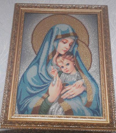 Продам Икону Мадонна с младенцем ручной работы (вышивка бисером)
