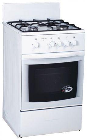 Газовая плита кухонная с духовкой Greta белая,4 конфорки,чугун решетка