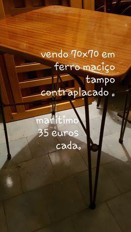 Mesas e cadeiras em ferro maciço