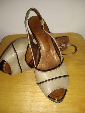 Rozm. 36. Skórzane sandały na szpilce Romex
