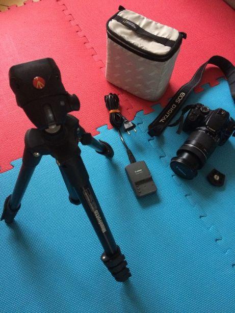 Зеркальный фотоаппарат Canon + штатив Manfrotto, объектив Canon 18-135