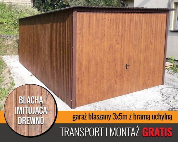 Garaż drewnopodobny 3x5 brama do góry garaże blaszane GRATIS TRANSPORT