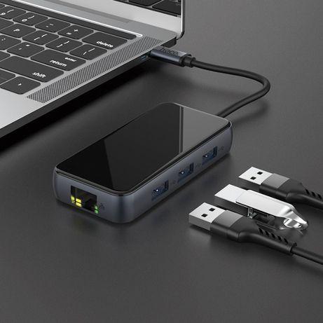 Переходник HUB Hoco HB16 Type-C to USB3.0*3+HDMI+PD+RJ45