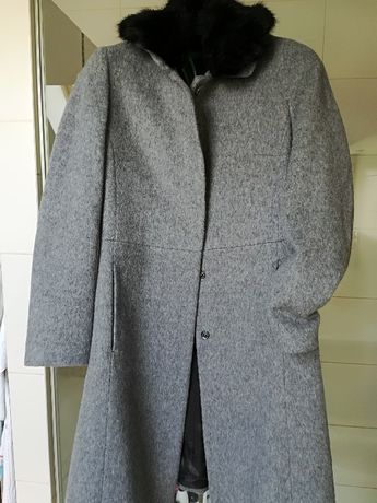 Nowy szary płaszcz Benetton, wełna, r. 40