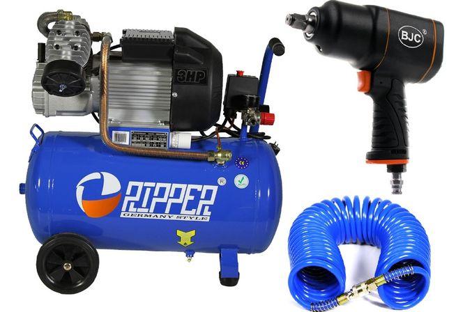 Kompresor sprężarka 50l 250l/min +Klucz pneumatyczny BJC 1550Nm + WĄŻ