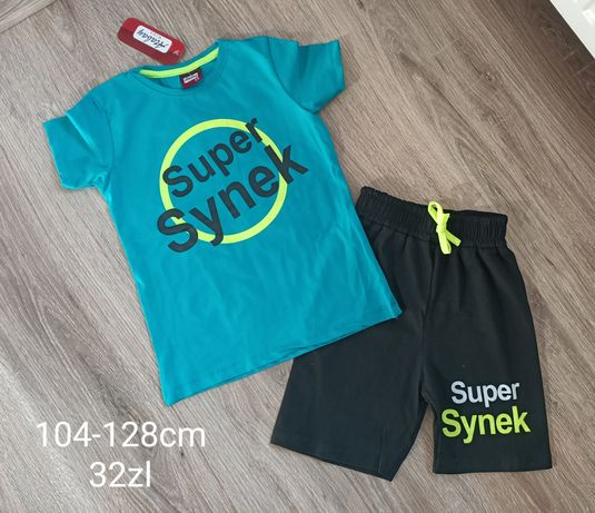 Koszulka spodenki super synek komplet 122