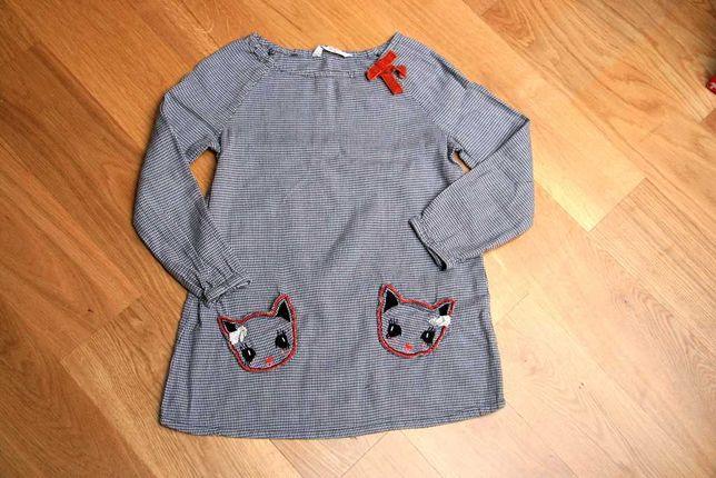Tunika dziewczęca z kotkami H&M HM r. 122 6-7 lat
