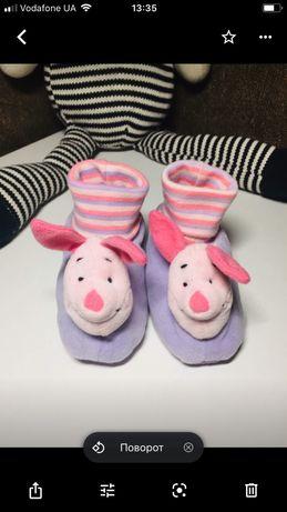 Пинетки тапочки розовые Disney носочки носки 18 17 размер