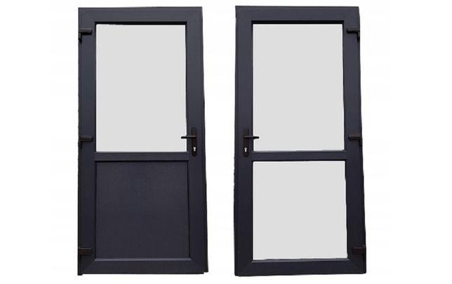 Drzwi zewnętrzne PCV 100x200 antracyt jak ALUMINIOWE sklepowe OD RĘKI