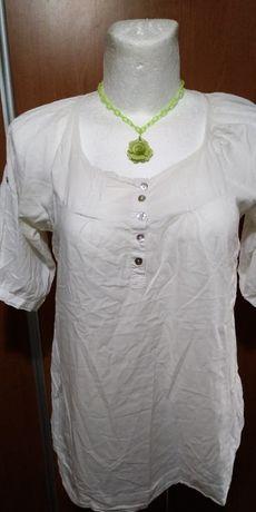 Biała tuniczka z kieszeniami, bawełna, 46-48