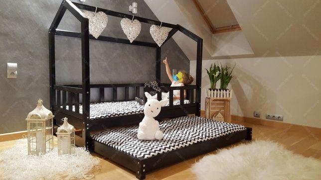 Łóżko domek z dodatkowym łóżkiem w stylu skandynawskim drewniane BELLA