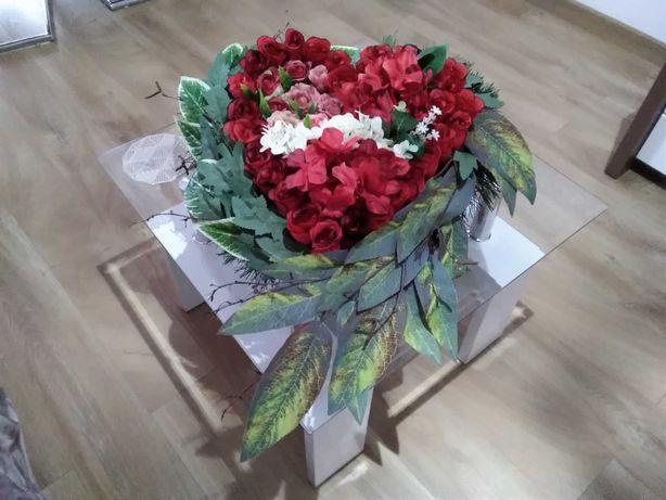 Serce na grób, kwiaty sztuczne, stroik na  Cmentarz, Dzień Babci