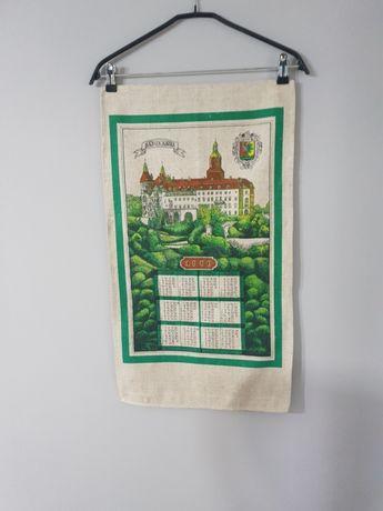 Kalendarz na tkaninie  prl lnianny rok 1980