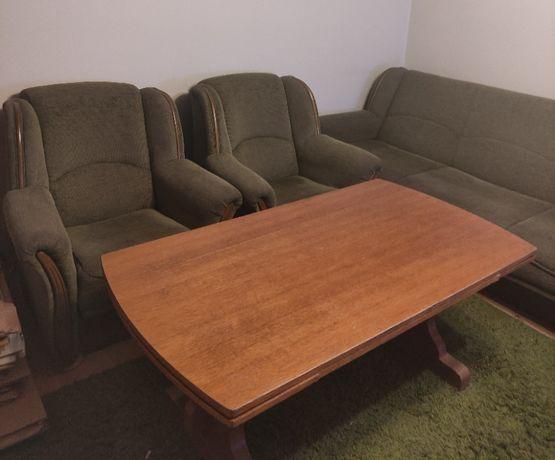 Wersalka + 2 fotele + ława rozkładana