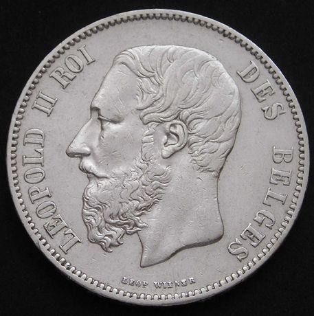 moneta Belgia 5 frank 1869 - król Leopold II - srebro