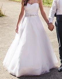 Suknia ślubna biała plisowany gorset rozm 36