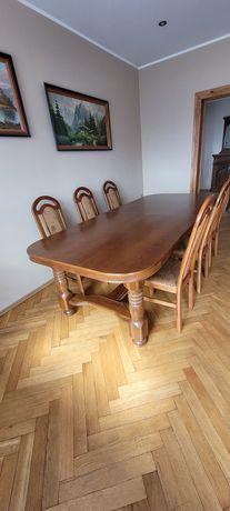 Stół dębowy duży + 6 krzeseł