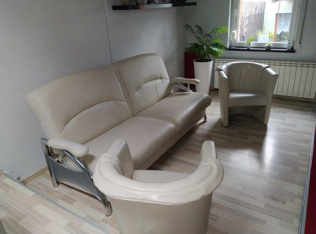 kanapa (sofa) 3 osobowa firmy Wajnert - ekoskóra kremowa