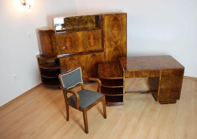 Niepowtarzalny gabinet art - deco po renowacji biblioteka fotel biurko