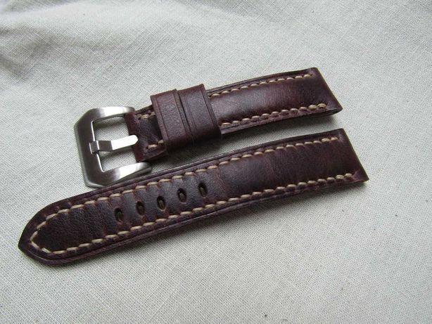 Skórzany pasek do zegarka 22 mm - skóra - Ręcznie robiony -Handmade !