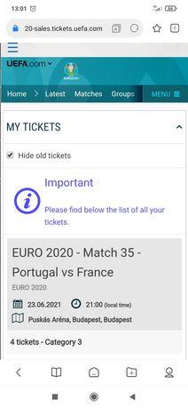 Bilhete para jogo Portugal vs França