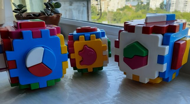 Куб сортер животные геометрические фигуры ТехноК кубик Умный малыш