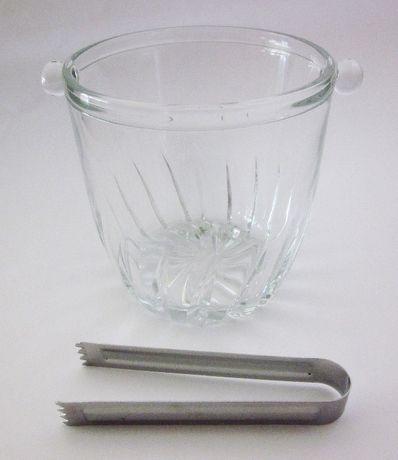 Balde para gelo em vidro com pinça