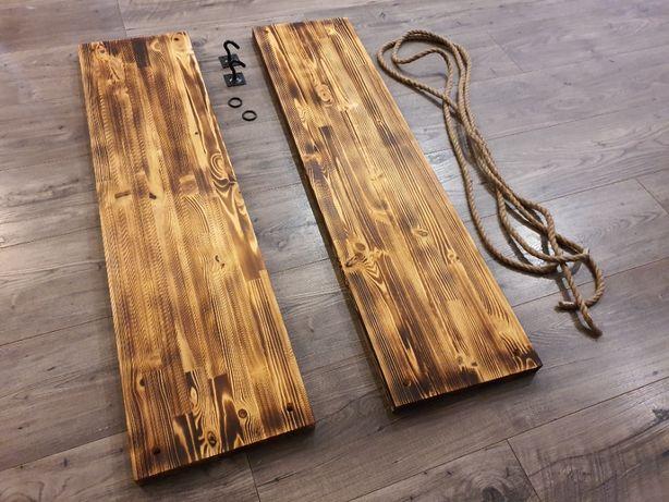 Półka na linach - podwójna 100x25 - drewno opalane
