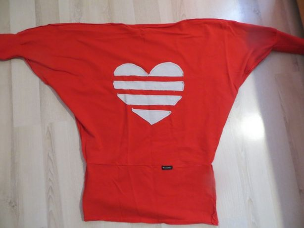 Pentelka Bluza tunika dla ciężarnych - czerwona serce