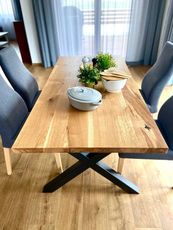 stół dębowy loft industrial konstrukcja stalowa meble na wymiar