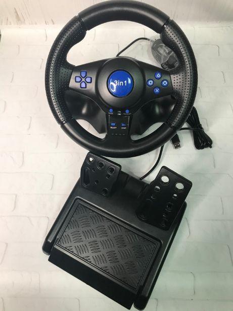 Игровой руль с педалями газа и тормоза, коробкой передача 3 в 1PC/PS2
