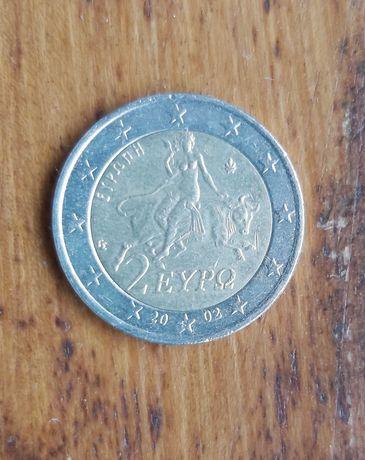 """Moeda 2 euros - Grécia (2002) """"S"""" na estrela"""