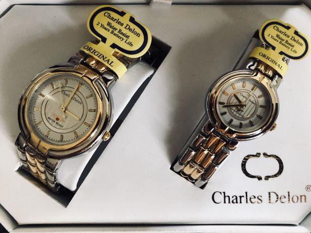Nowy oryginalny komplet markowych zegarków Charles Delon