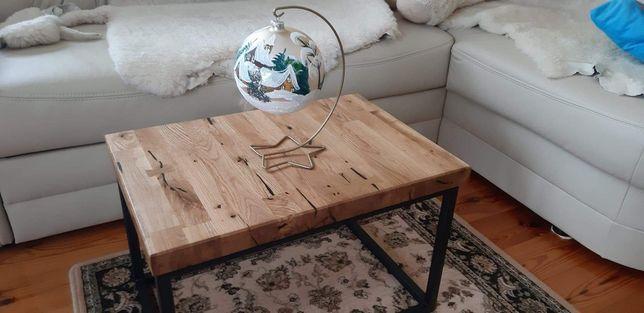 Stół stolik ława stal drewno dąb dębowe loftowe rustykalny