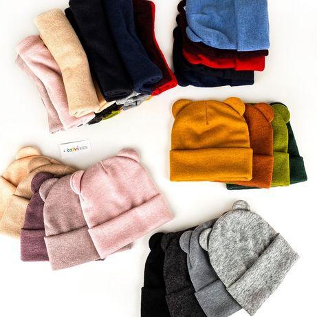 Шапка ангора с ушками / набор комплект шапка + хомут с ушками