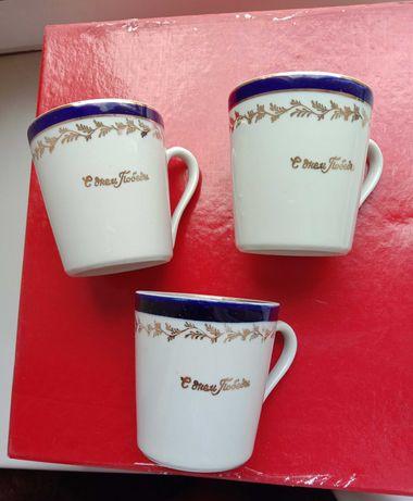 Чашки чашечки «С ДНЕМ ПОБЕДЫ». Кобальт, позолота. 3 шт. Довбыш Раритет