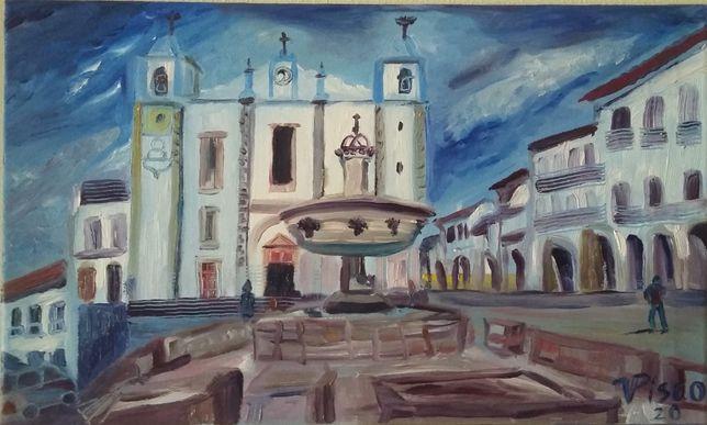 Praça do Giraldo/ Évora, óleo sobre tela, 30x50 cm, 2020